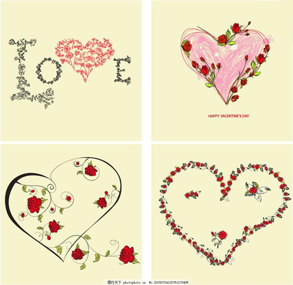 手绘彩铅心形 心 彩铅 手绘心形 花藤 玫瑰 情人节 love 艺术字体