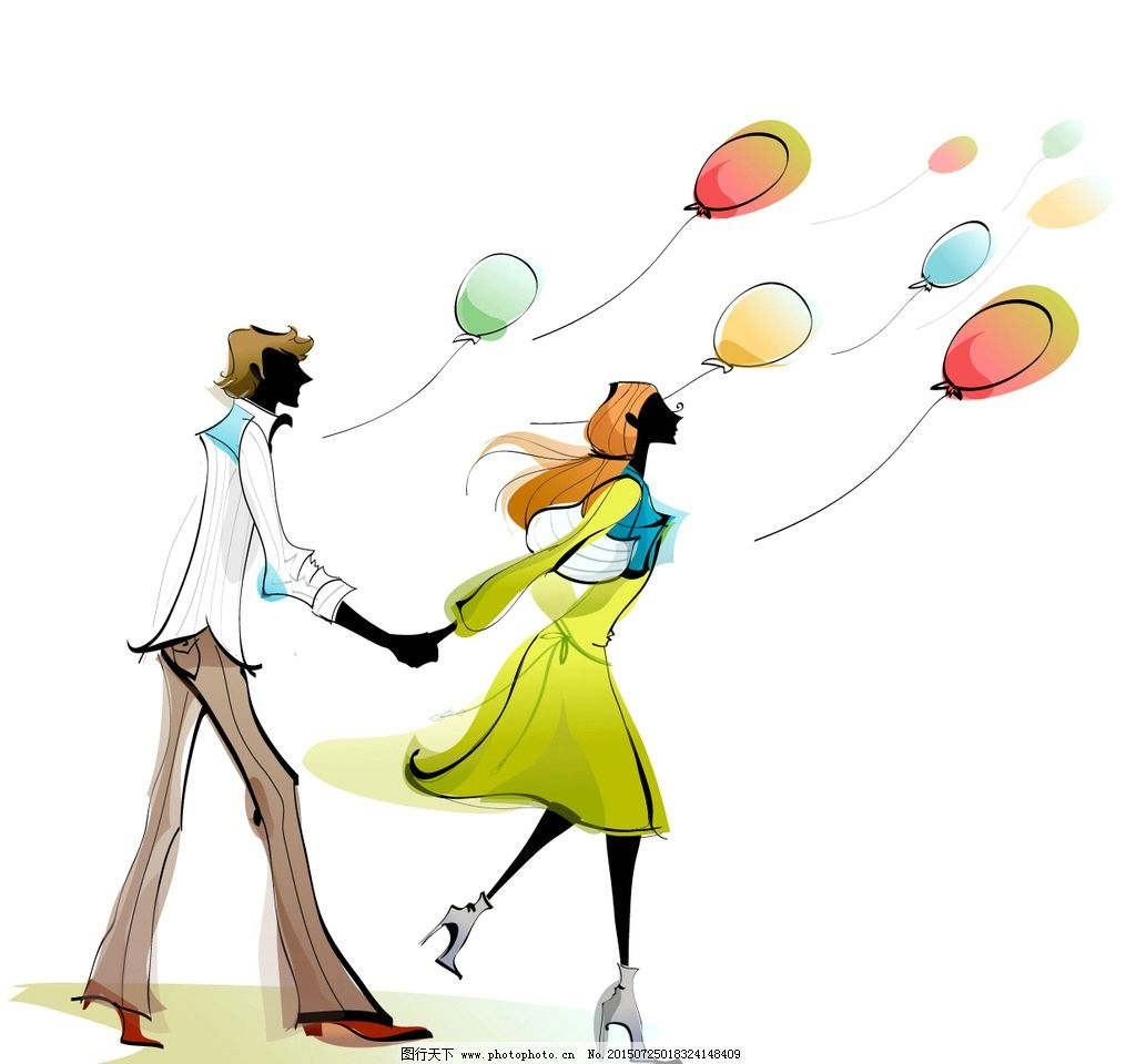 情侣约会场景 放飞气球 情侣手拉手 时尚都市街头 休闲娱乐 高贵时尚