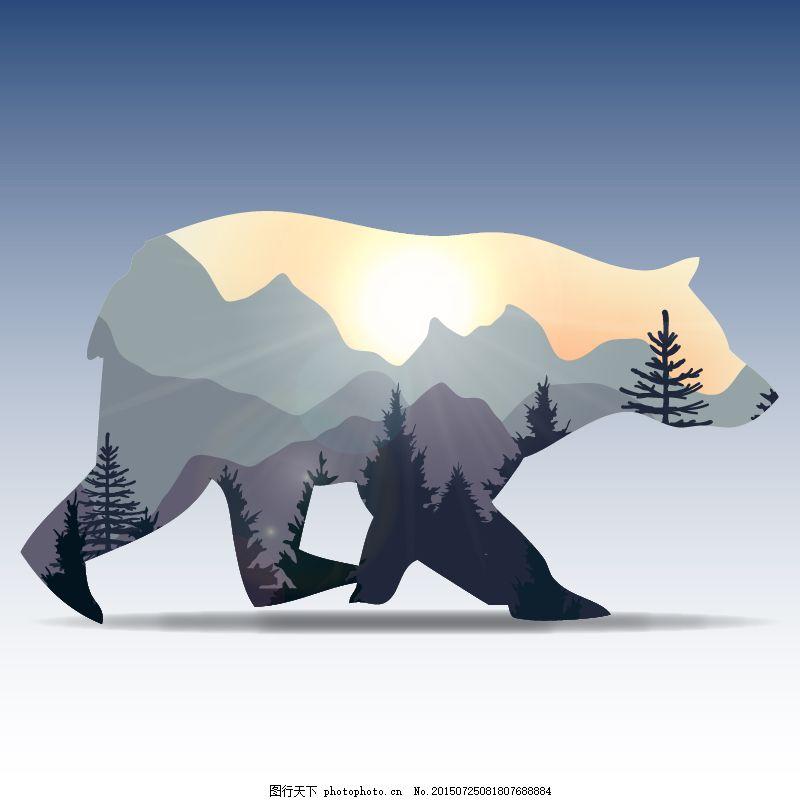 森林熊 动物大自然夕阳 白色