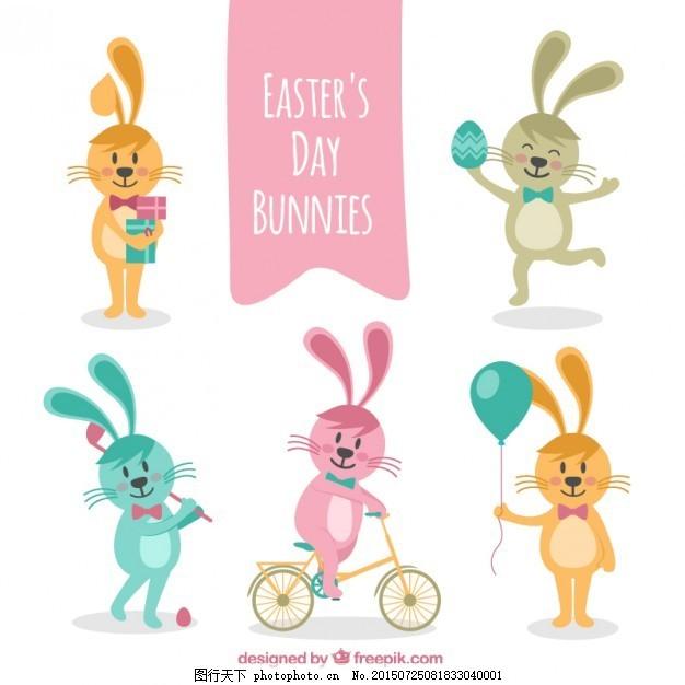 复活节兔子的一天 手 动物 春季 自行车 手画 可爱 庆祝 宗教