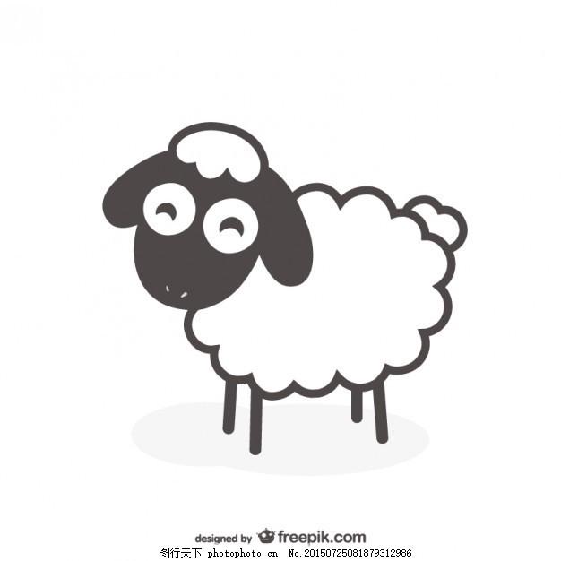黑白绵羊载体 动物 农场 农场动物 白色