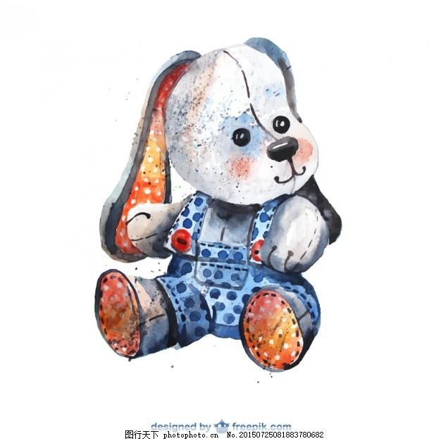 水彩画的毛绒动物 水彩 手 狗 动物 油漆 可爱 玩具 可爱的动物 手画