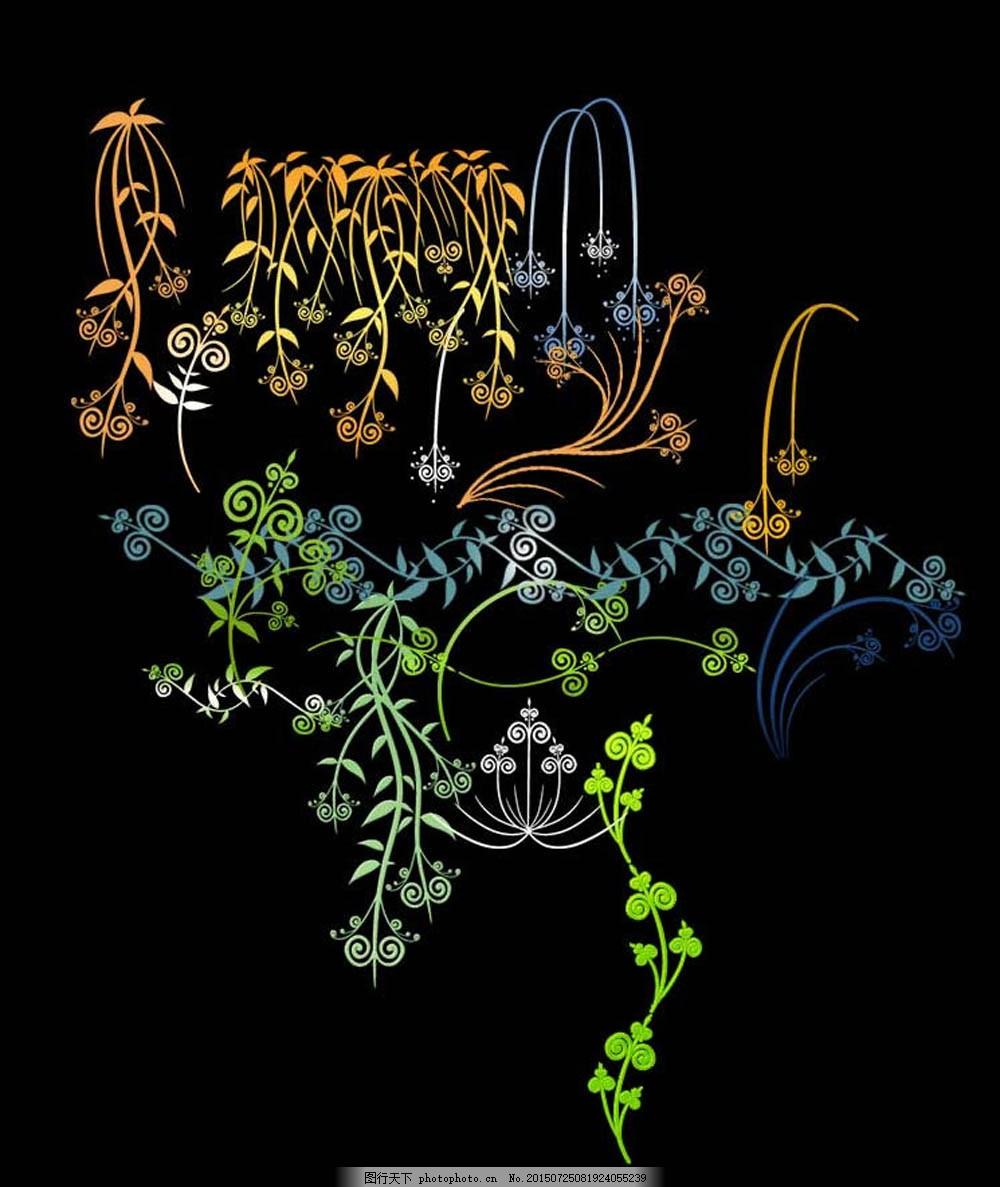 手绘植物藤蔓和枝条图案ps笔刷
