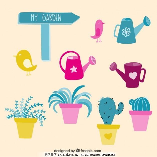可爱的园林要素 花 花园 可爱的元素 植物 插画 仙人掌 园艺
