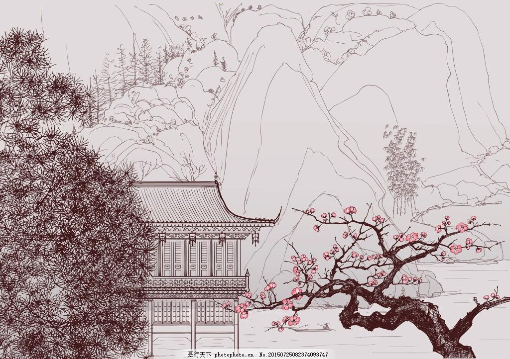 工笔画素材 工笔画 插画 中国风插画 手绘插画 山水 桃花 水墨画 eps