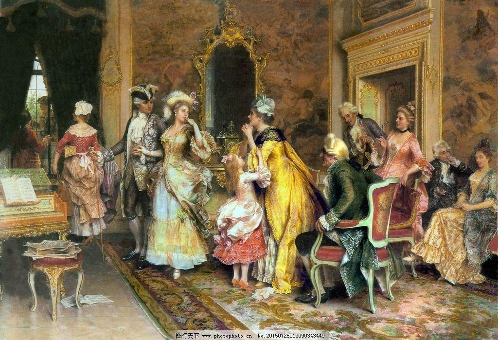 油画宫廷人物图片,油画美女 装饰画 无框画 欧式油画