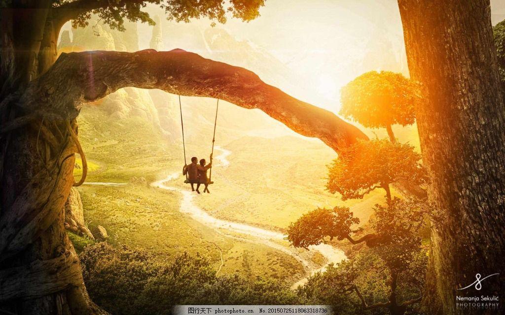 浪漫森林落日秋千背景