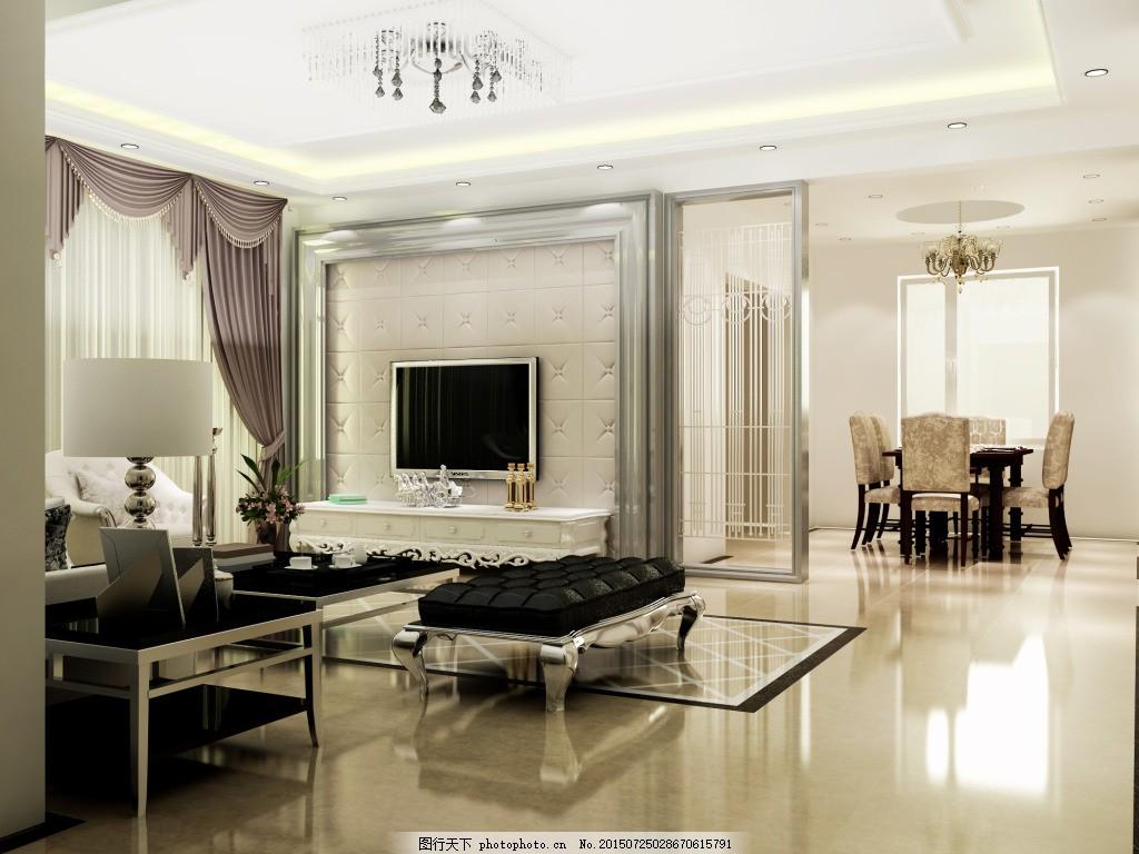 欧式客厅 现代 客厅室内设计 白色
