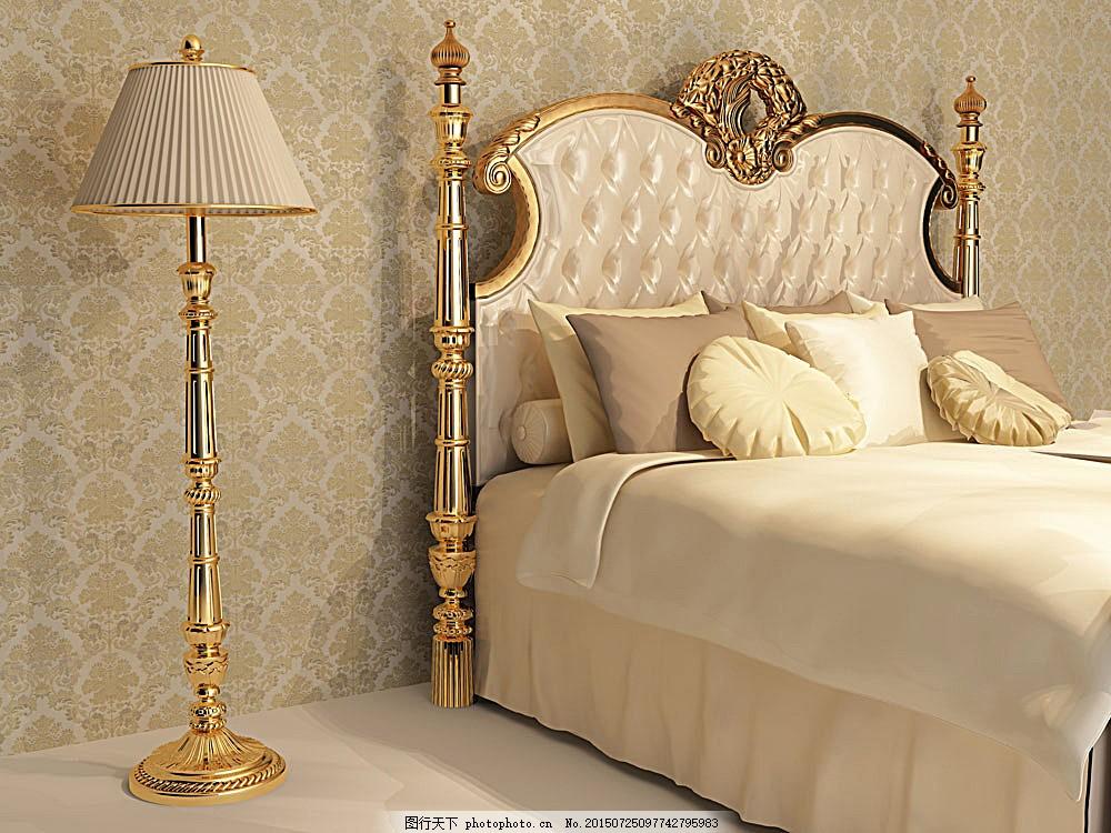 欧式卧室效果图 欧式卧室效果图图片素材 睡房 双人床 床头柜 台灯