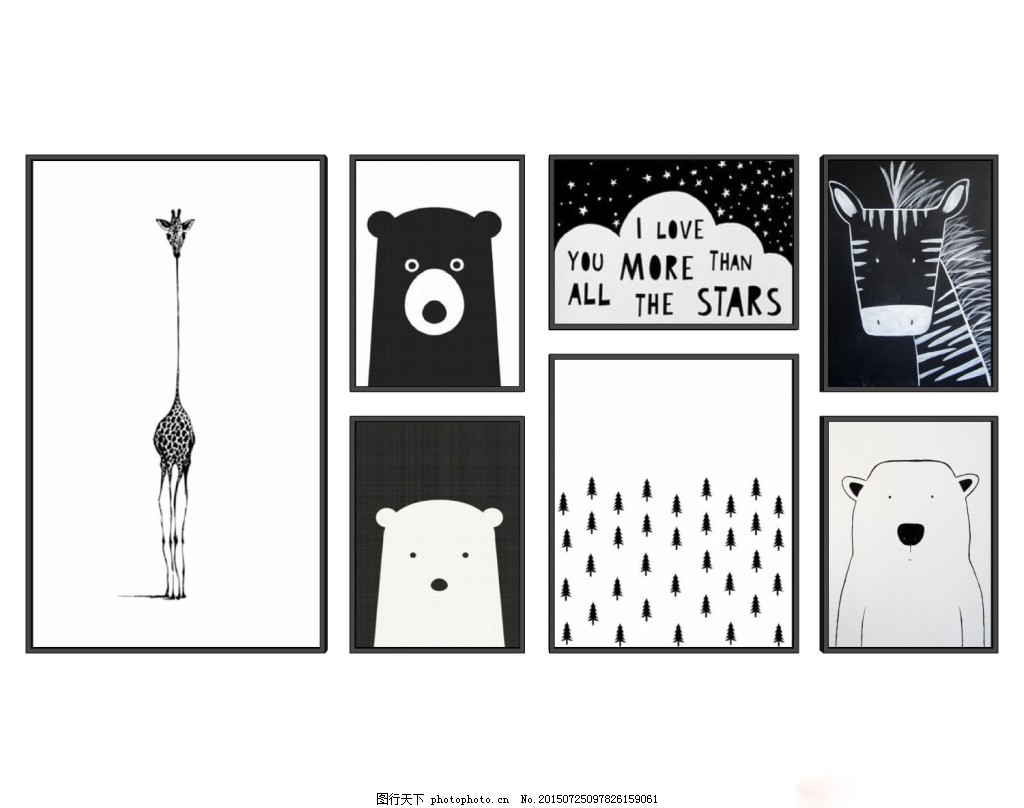 黑白组合动物装饰画 长劲鹿 动物组合 黑白灰 熊