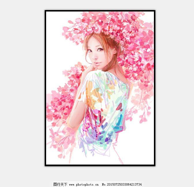 美女 人物 设计 手绘 鼠绘 手绘 鼠绘 人物 动漫 唯美 卡通 粉红 美女