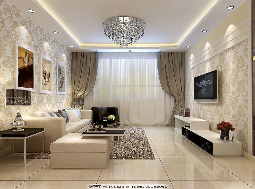 现代风格 电视背景墙 装修效果图 沙发 电视柜 地砖 壁纸 吊顶 吸顶灯图片