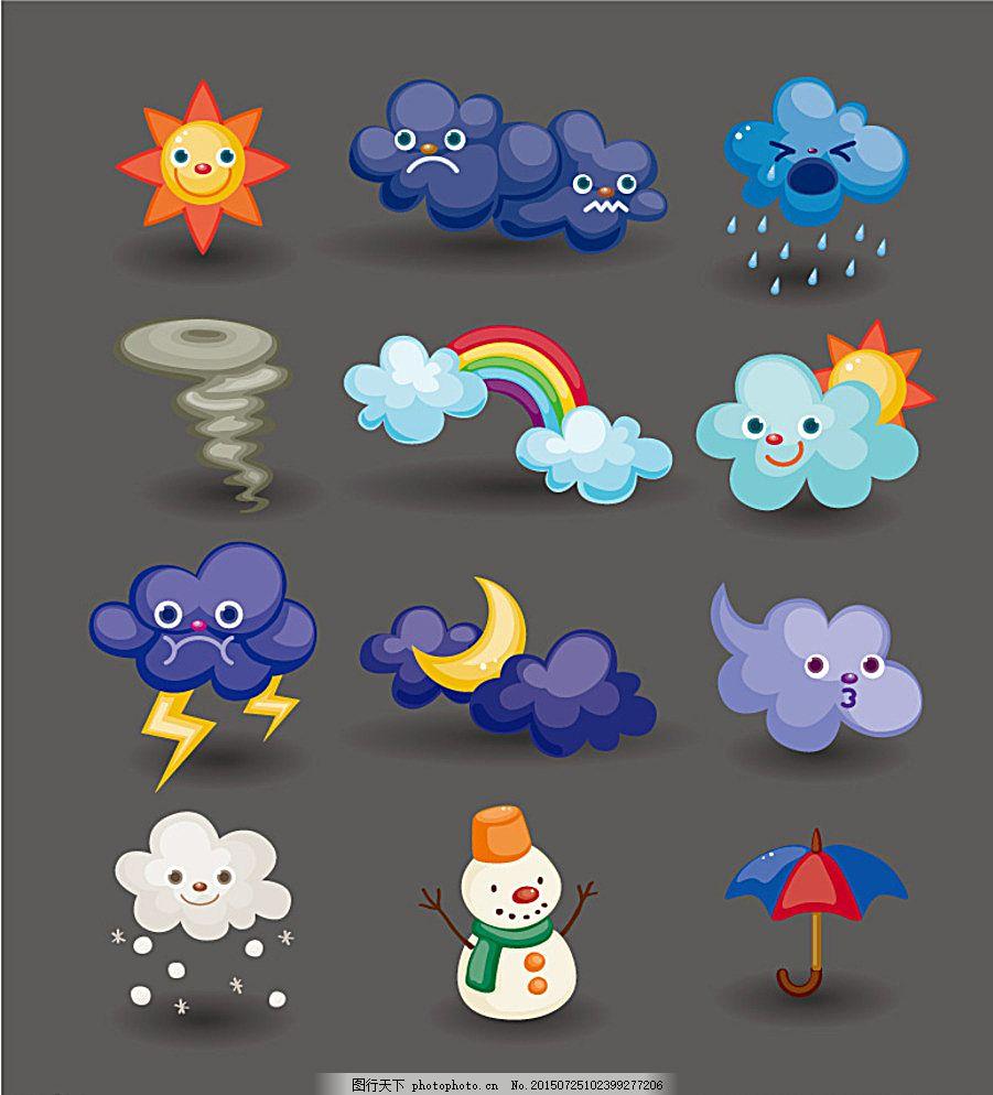 童趣卡通天气图标矢量素材 气象 气候 太阳 多云 下雨 刮风 龙卷风图片