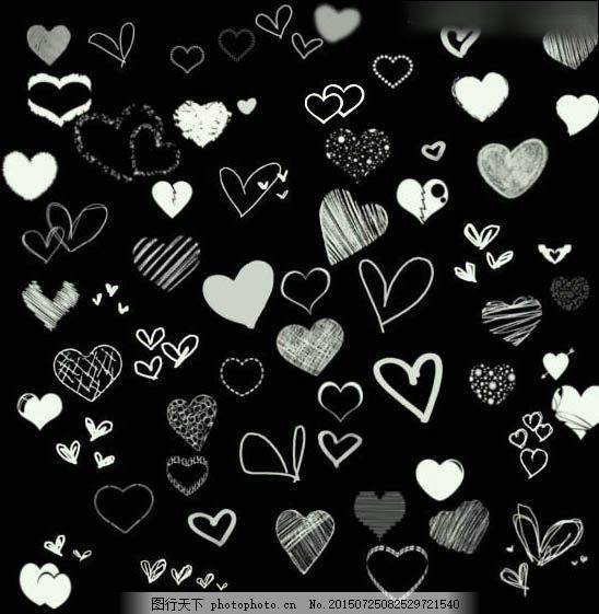 各种手绘心形,爱心涂鸦效果ps笔刷下载