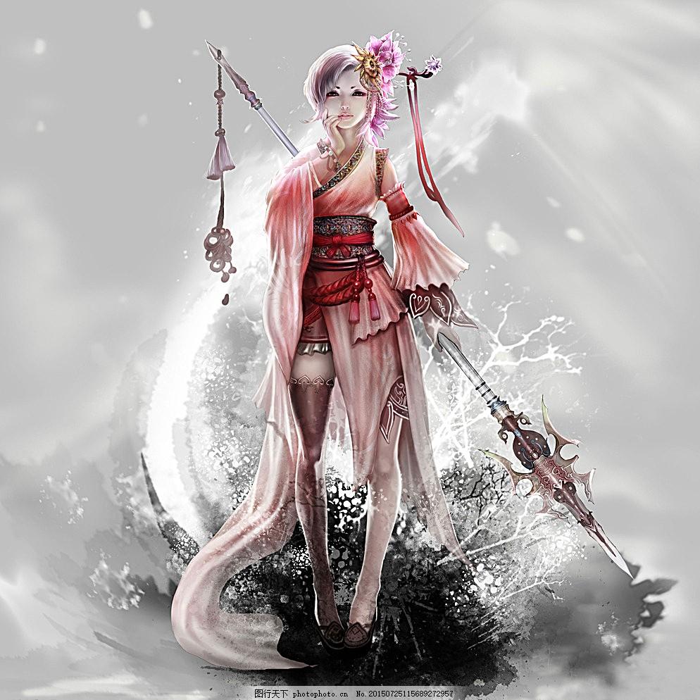水墨女枪客 女枪客 古装剑客 水墨风 卡通古装 卡通美女 美少女 仙子