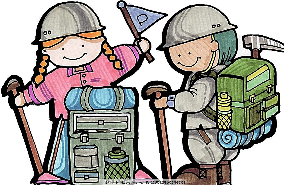 登山小勇士 小朋友 工具 背包 海报 宣传画 动漫动画 动漫人物