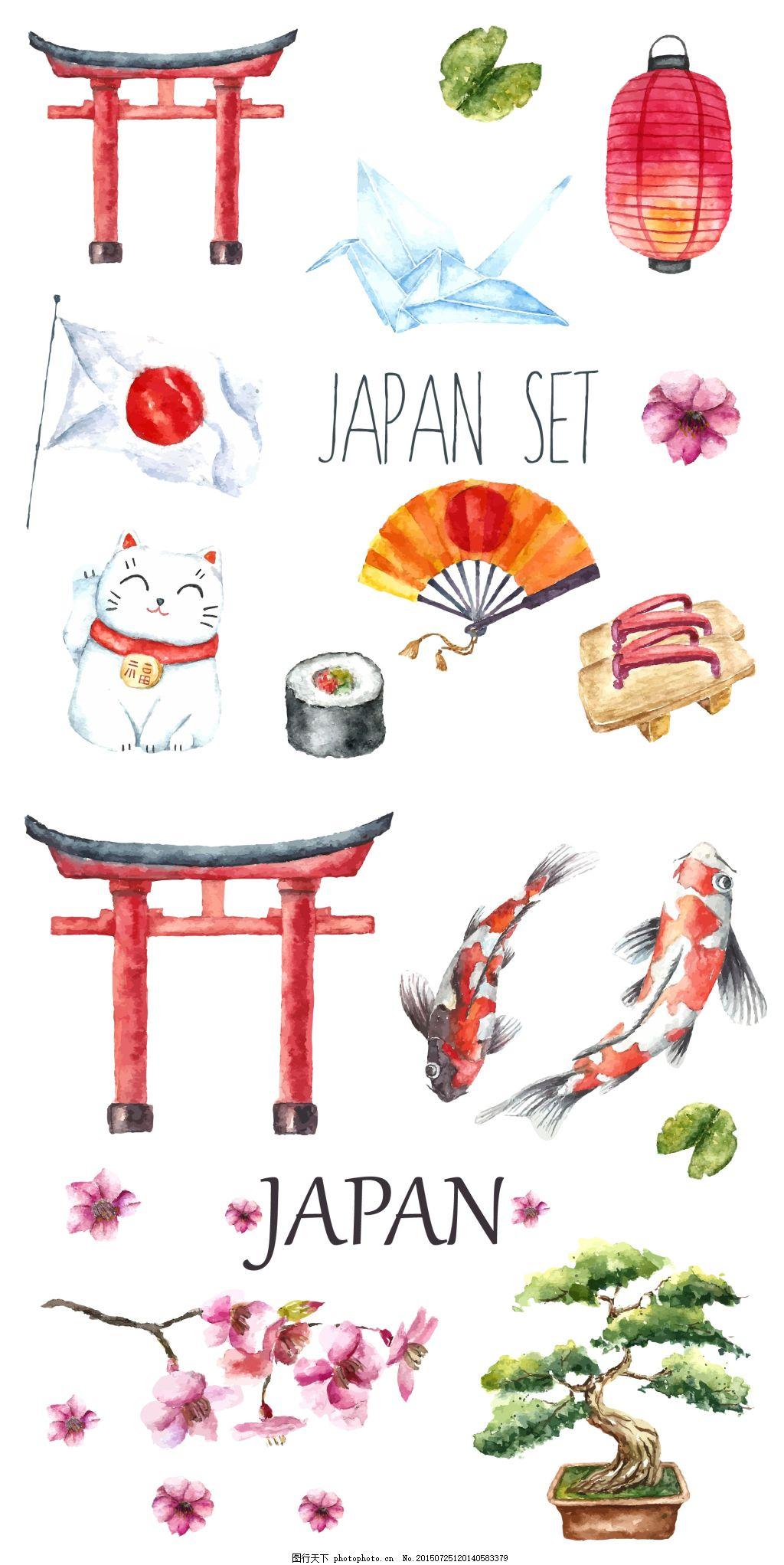 日本风水彩素材 日本 日本风插画 插画 手绘插画 日本景点 金鱼 寿司