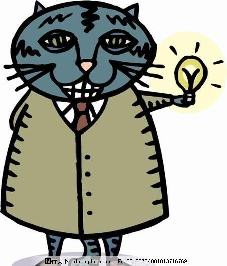 猫 动物漫画 矢量素材 eps 设计素材 矢量动物 矢量图库 白色