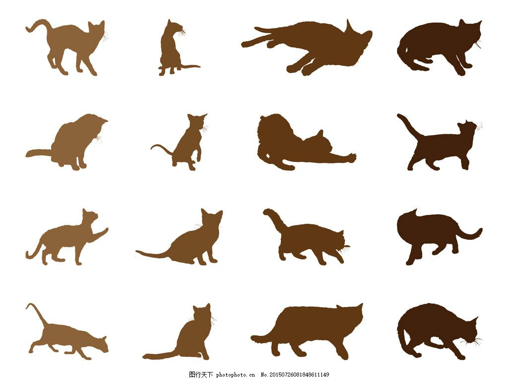 猫咪剪影 猫咪 剪影 宠物 小猫矢量素材 小猫模板下载 小猫 插画 可爱