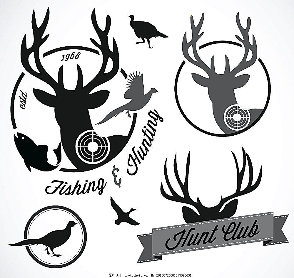 动物和靶心黑白标签