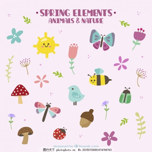 手画可爱的春天动物和自然