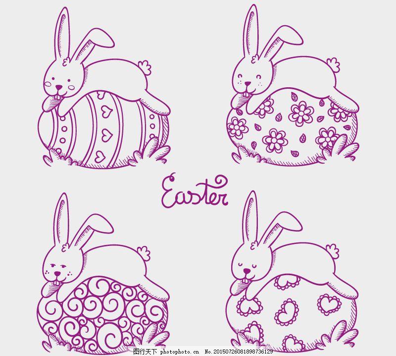 手绘彩蛋和兔子