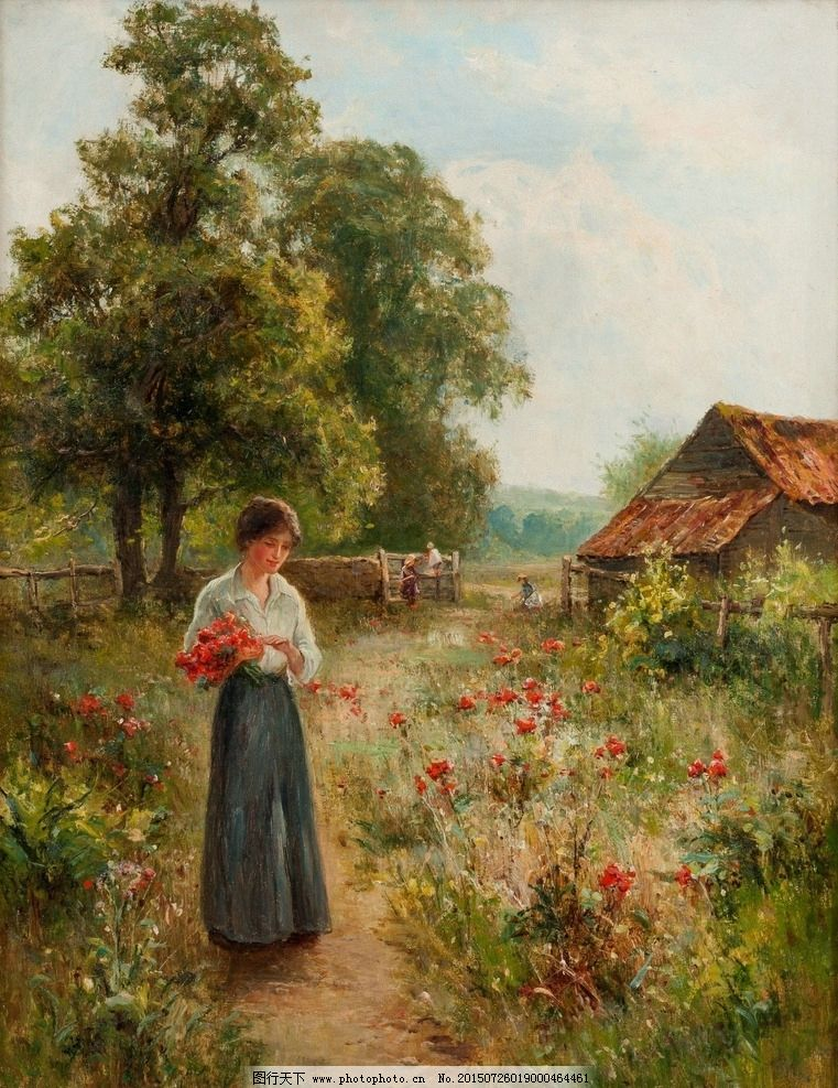 油画风景 鲜花 装饰画