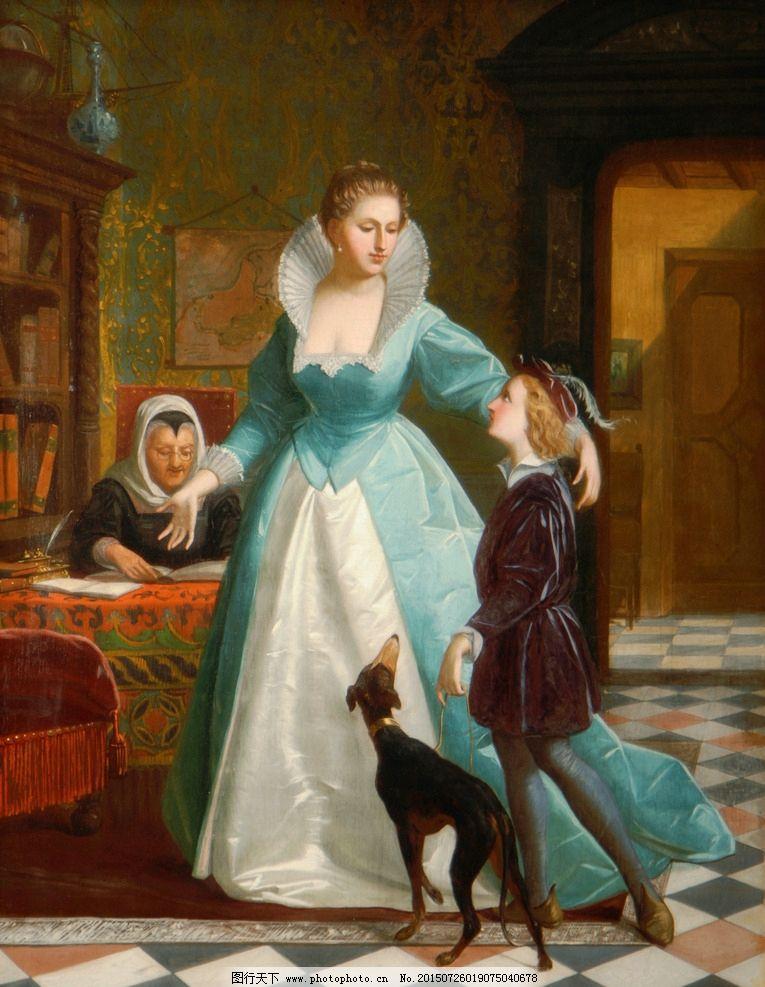 油画美女 狗 装饰画 无框画 欧式油画 唯美 油画艺术 古典油画