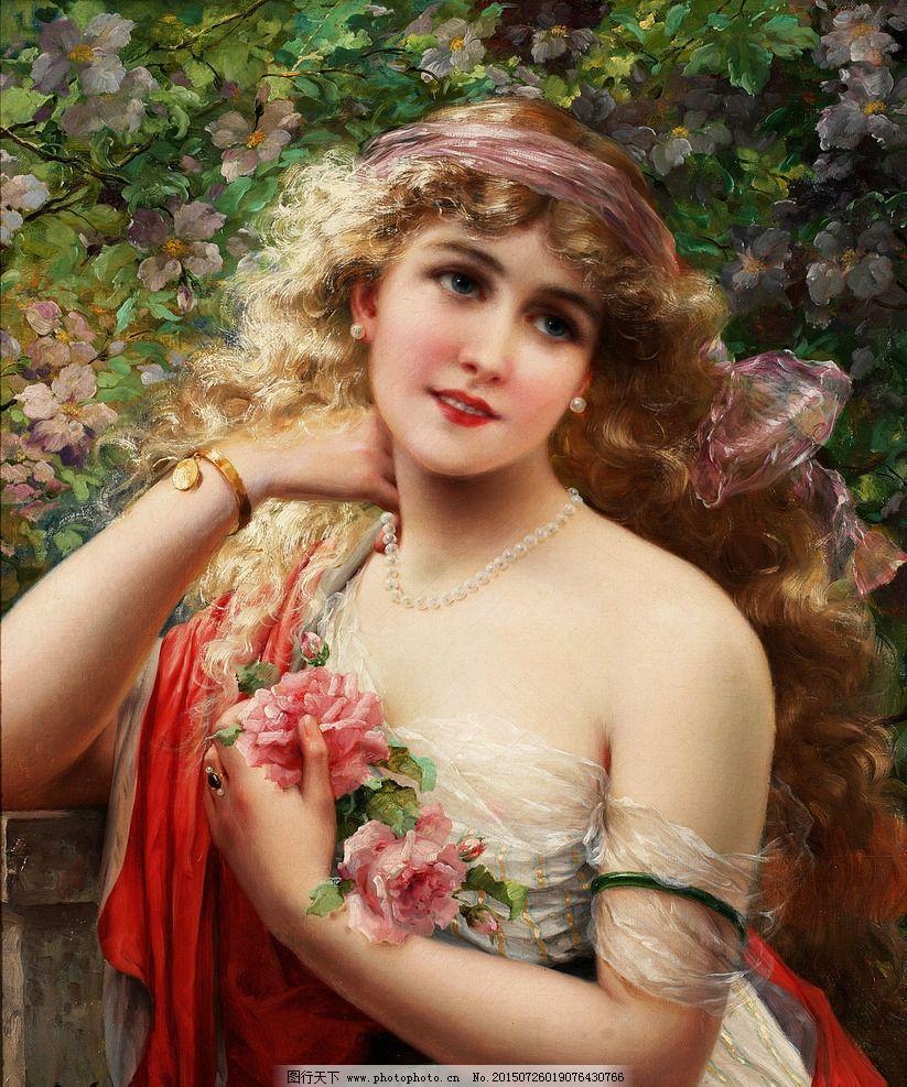 油画美女 装饰画 无框画 欧式油画 唯美 油画艺术 古典油画 写实油画