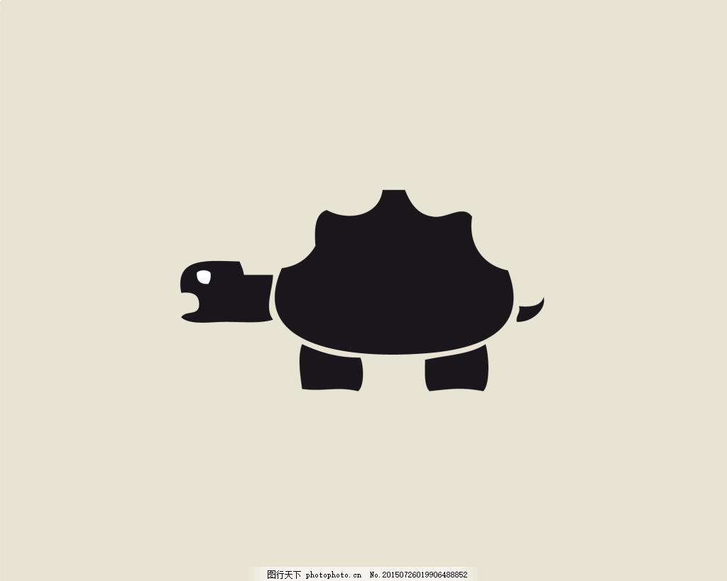 乌龟创意标志设计 动物 卡通 坚定 抽象 简单 黑白 粉色