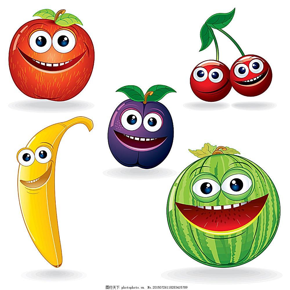 微笑的卡通水果背景 微笑 眼睛 卡通水果 香蕉 西瓜 时尚花纹 花纹