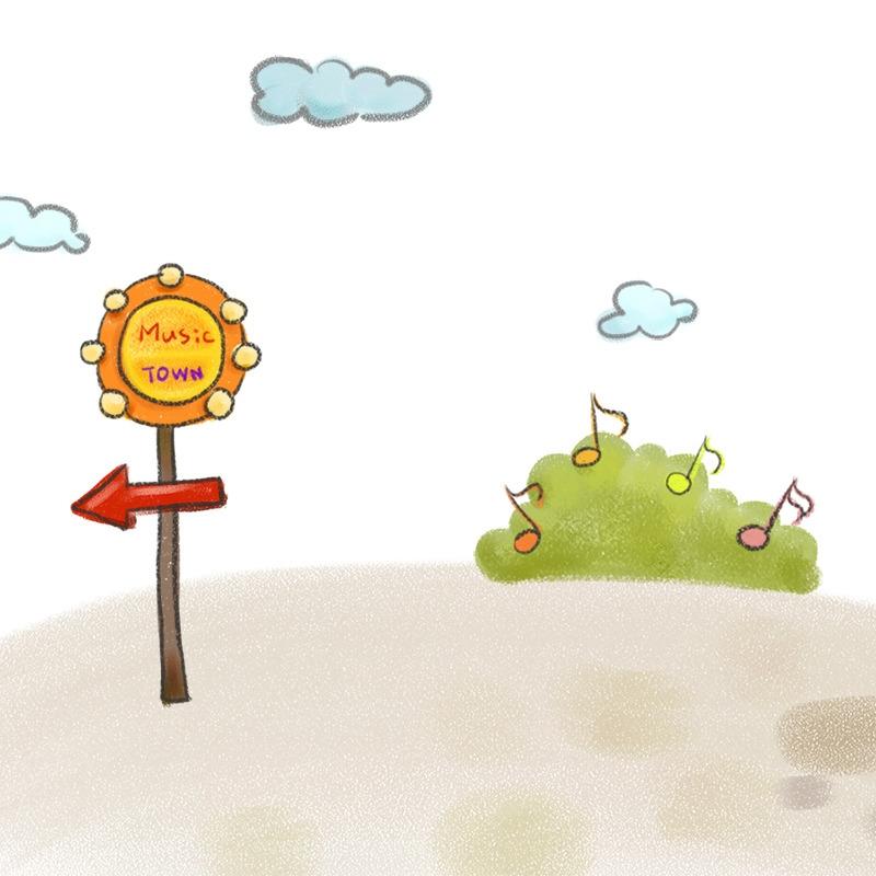手绘卡通背景 儿童背景 手绘背景 音符 草丛 云朵 白色