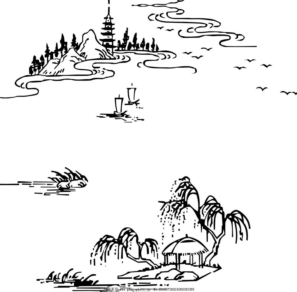 手绘线条杭州西湖