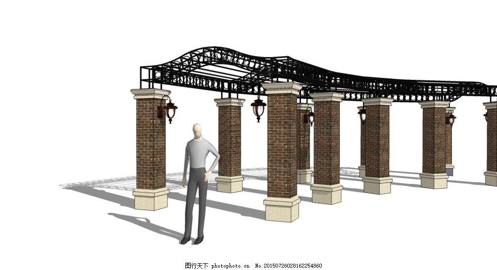 廊架铁艺 花架 园林设计 景观素材 skp 廊架欧式 铁架 白色