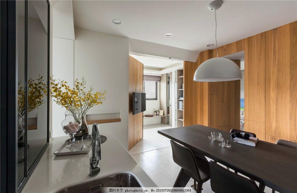 简约开放式厨房洗菜盆装修效果图 长方形餐桌 大理石白色台面 方形