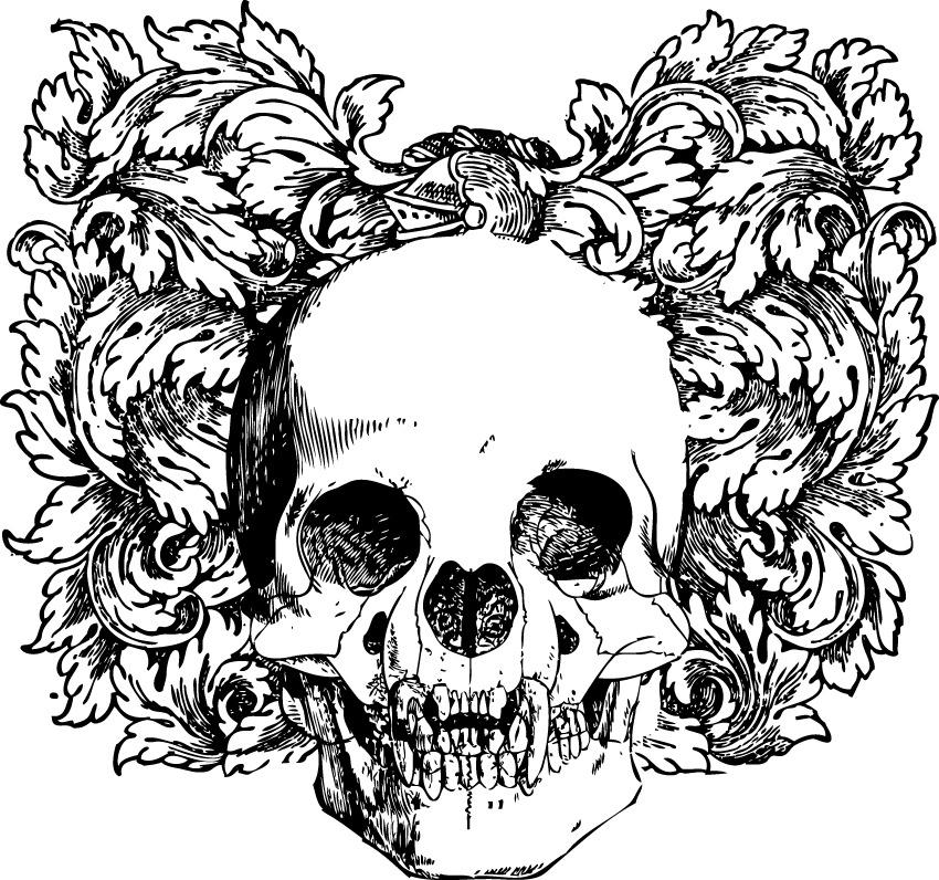 恐怖骷髅头像黑白免费下载
