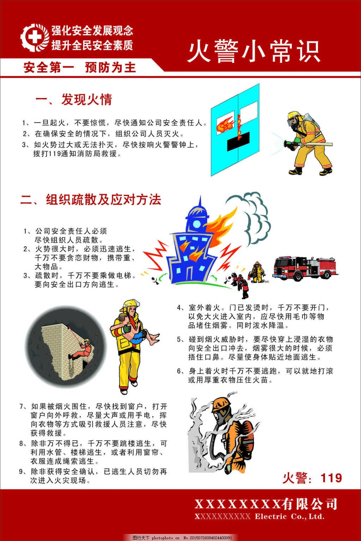 火警小常识漫画宣传展板 安全生产展板 安全生产月 防火安全 安全用电