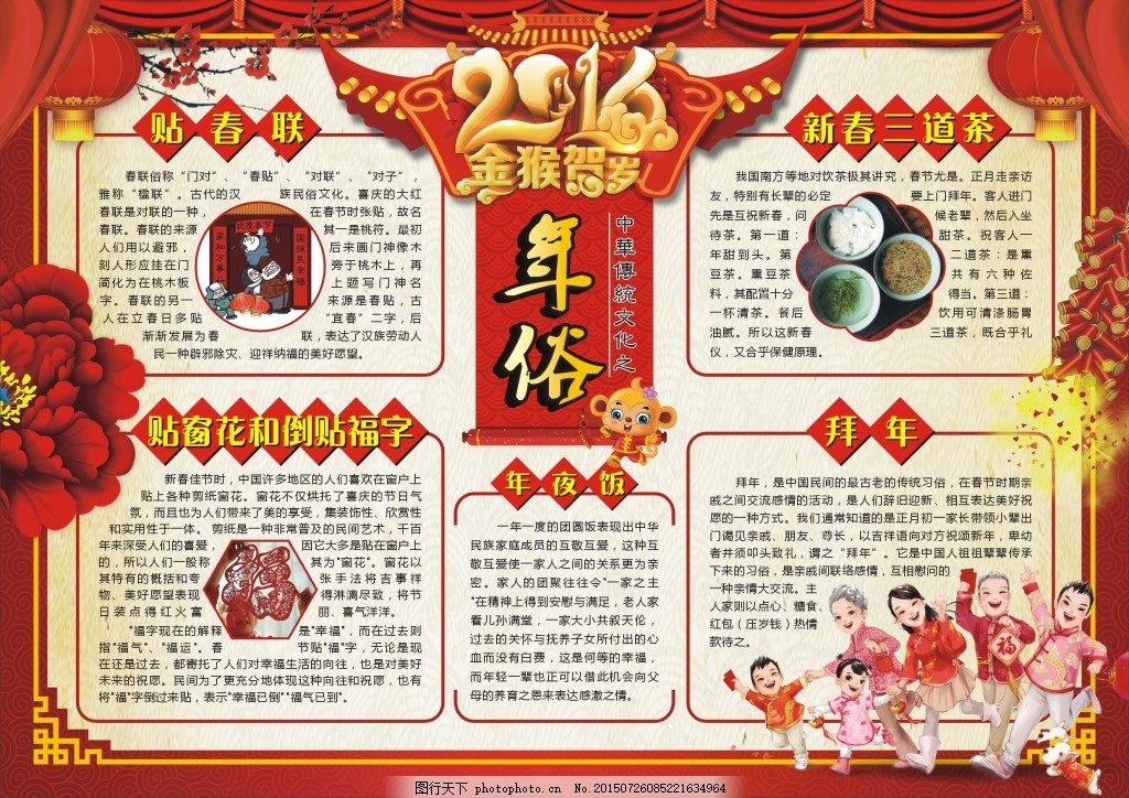 年俗文化 传统文化 传统节日 中国年 中国风 封面模板 电子小报素材