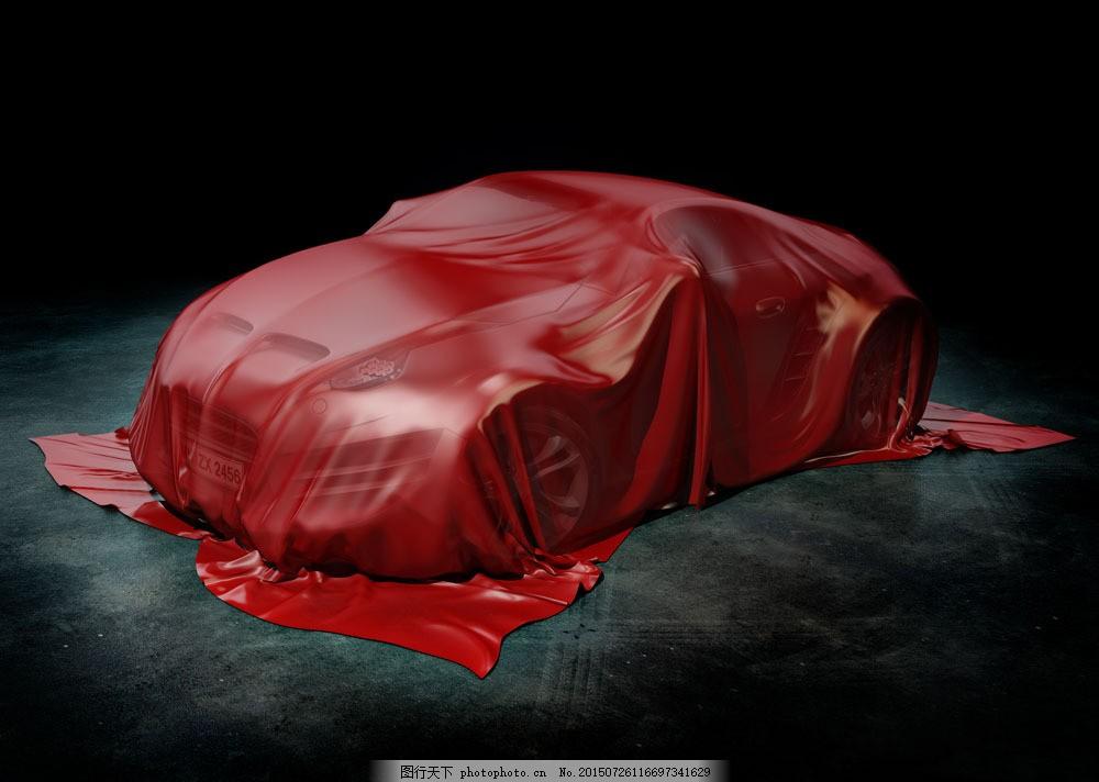 盖着跑车的红绸 轿车 汽车 跑车 新车发布 幕布 红绸 丝绸 红布 绸子