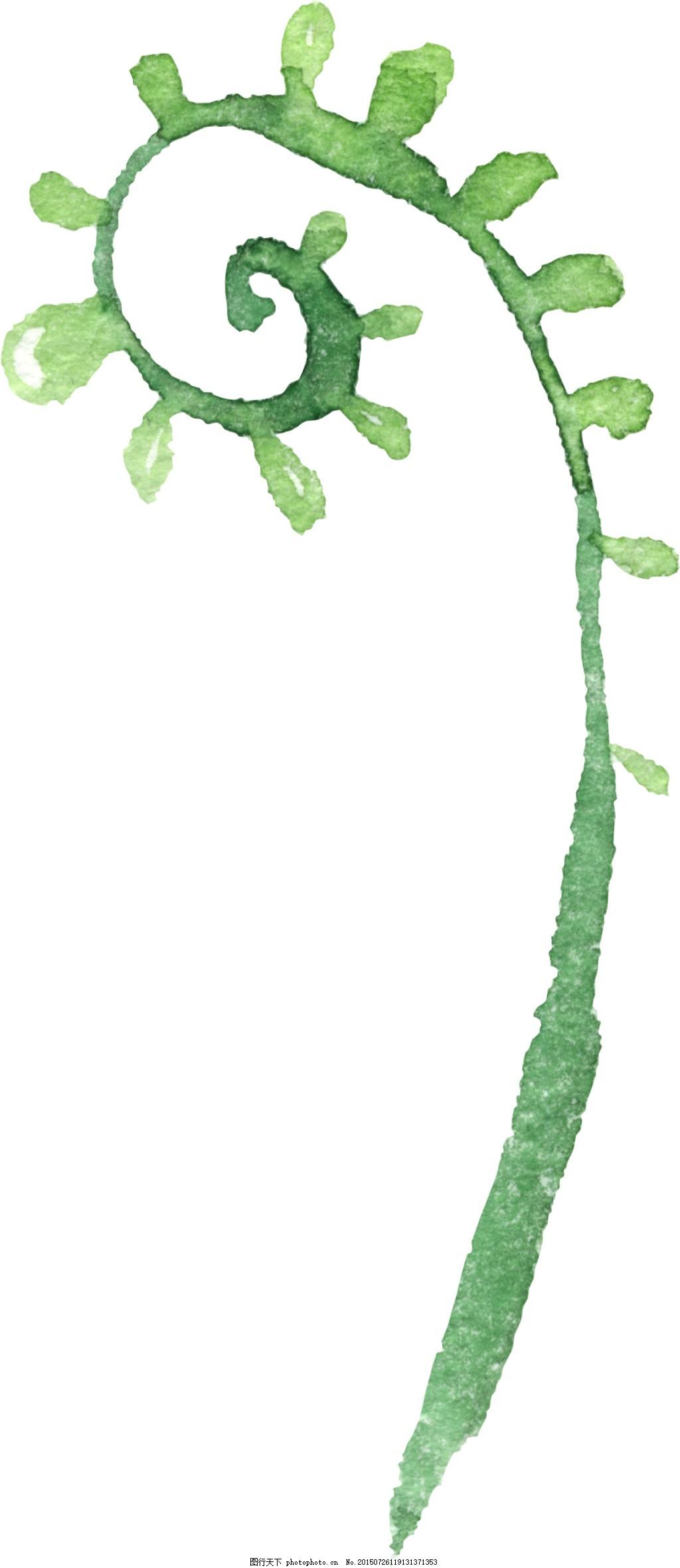 水彩手绘绿植1216-带通道