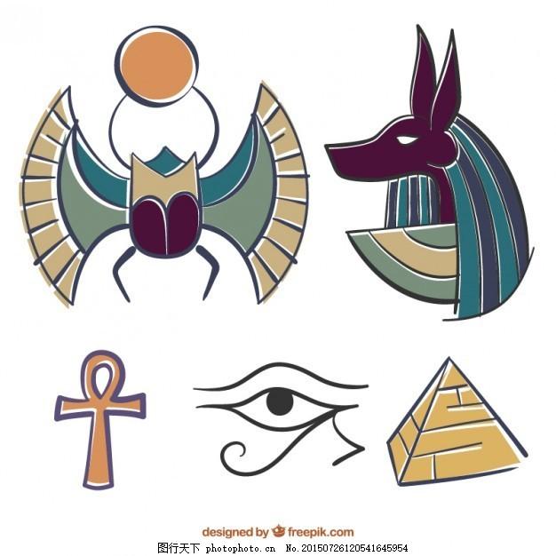 手绘彩色埃及元素 一方面 沙漠 金字塔 埃及文化 神画 古老的金字塔