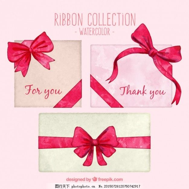 水彩画 丝带 纸手 礼品 饰品 红 蝴蝶结 装饰 礼品带 白色