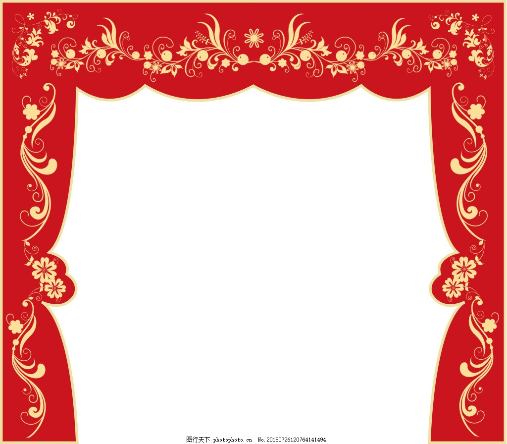 中式婚礼主舞台 大红 金色 花纹 喜庆 白色