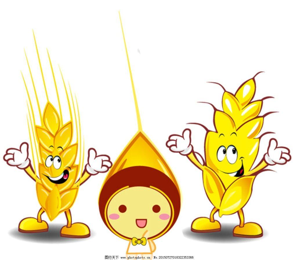 玉米 小麦 卡通人 庄家 食物 麦穗 秋收 金色 设计 动漫动画 动漫人物