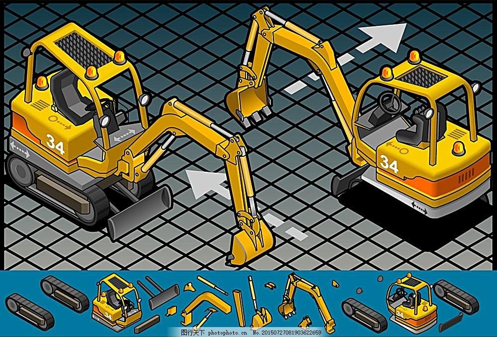 黄色挖掘机卡通画 结构 交通工具 运输工具 现代科技 矢量素材