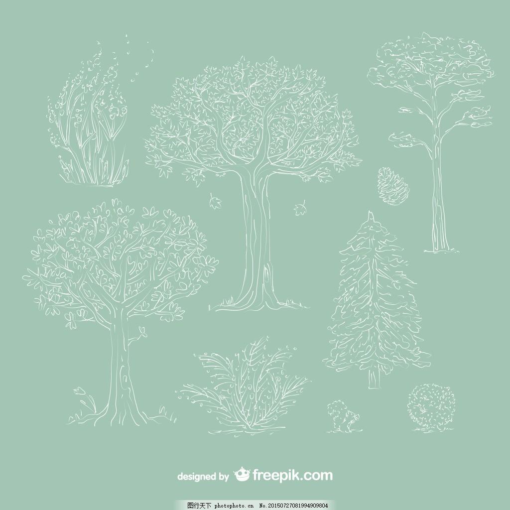 手绘树木 描绘 植物 绿色