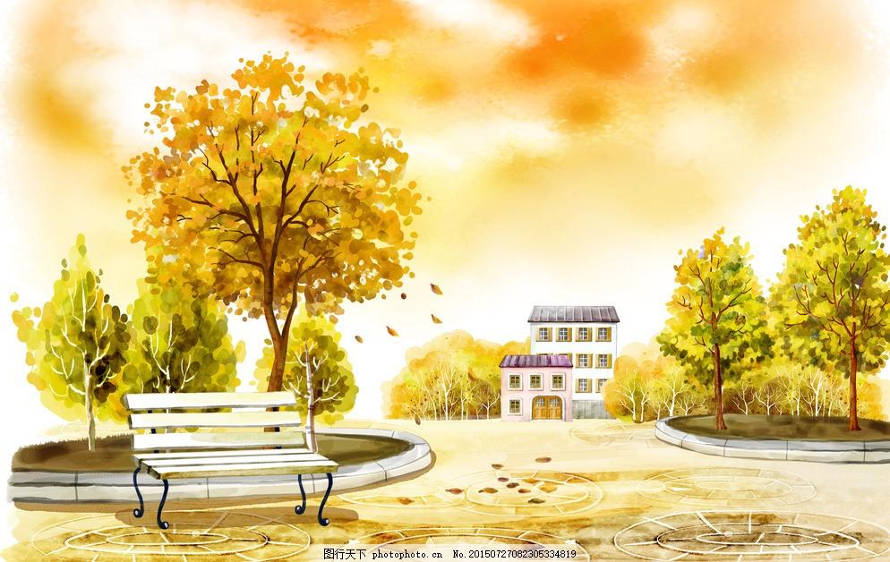 秋日小屋风景手绘插画图片