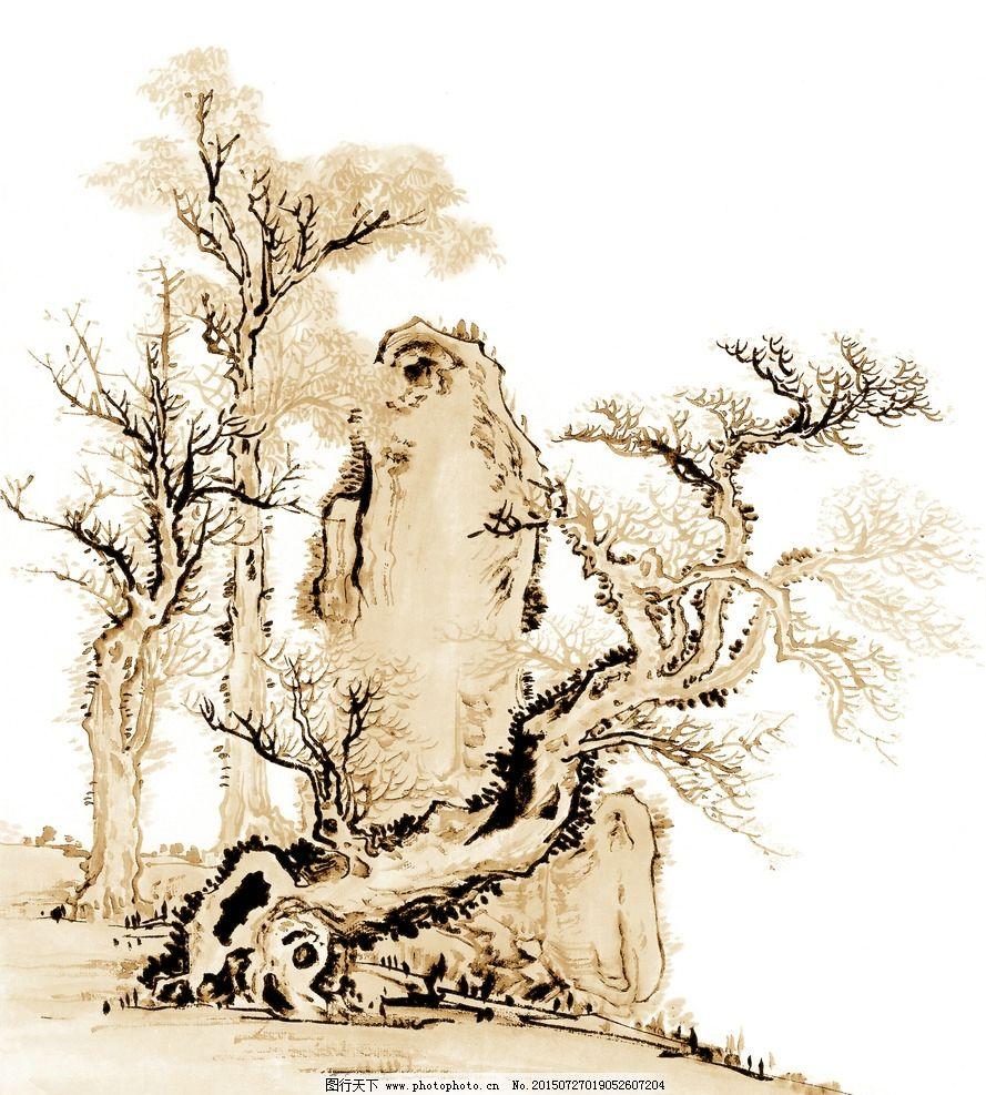 水墨树 古树 树木 大树 奇石 怪石 山石 古树画 国画树木 水墨古树 古
