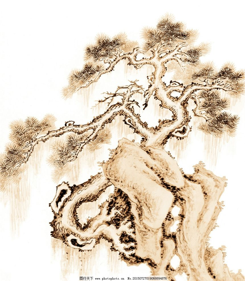水墨树 古树 树木 大树 奇石 怪石 山石 古树画 国画树木 水墨古树