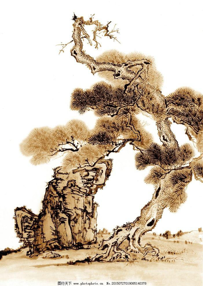 古树 树木 大树 奇石 怪石 山石 古树画 国画树木 水墨古树 古画 国画
